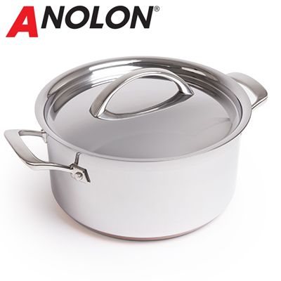 Raymond Blanc Cookware by Anolon Stainless Steel Stockpot with Lid - 24cm/5.4L