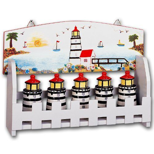 Lighthouse Faro Nautical 5 Piece Ceramic Kitchen Spice Jars with Decorative Wood Wall or Standing Rack Set - http://spicegrinder.biz/lighthouse-faro-nautical-5-piece-ceramic-kitchen-spice-jars-with-decorative-wood-wall-or-standing-rack-set/