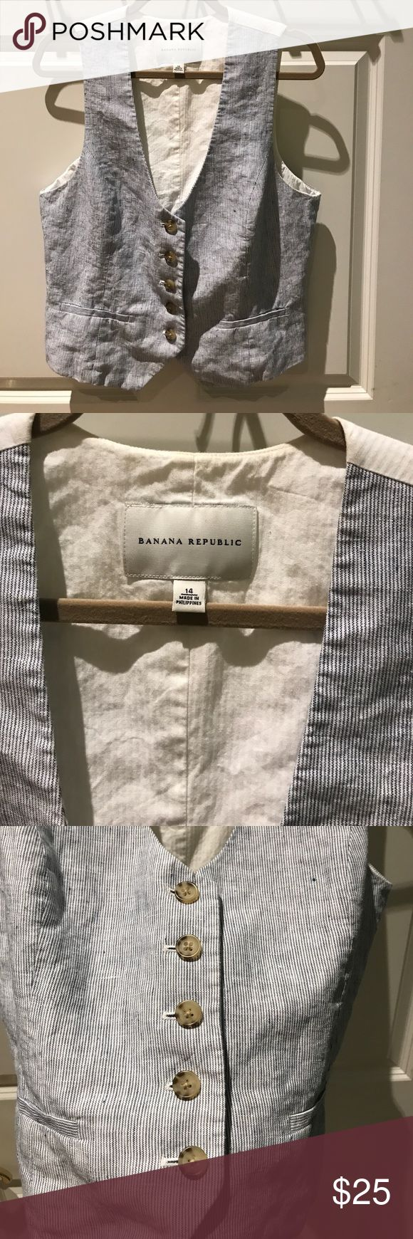 Banana republic linen blue and white vest This is a beautiful summer vest! Blue and white striped pattern on the front, White cotton panel on back and lining.  Little bit of light yellowing around collar  - barely noticeable. priced to reflect. Quality piece! Banana Republic Jackets & Coats Vests