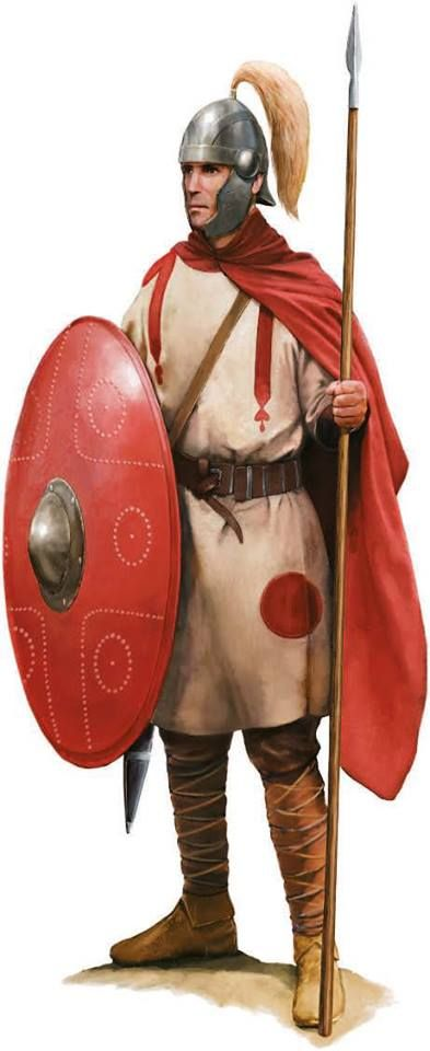 A Roman soldier of the limitanei unit, 5th century AD. Artwork by Tom Croft.