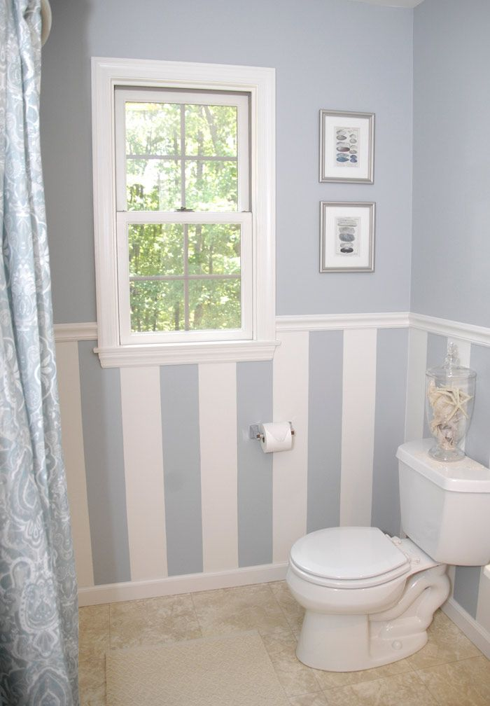 Bathroom Chair Rail Ideas Part - 26: I Like The Stripes; Not The Baby Blue Color. Bathroom Décor: Quick Bathroom  Decorating On A Budget