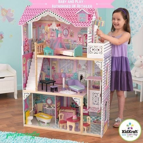 KIDKRAFT ANNABELLE DOLLHOUSE - WOODEN DOLL HOUSE SIZE: 12 INCH BARBIE DOLLS