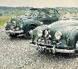 A Jowett Javelin (1952) in the back and the Jowett Jupiter (1949) in the front.
