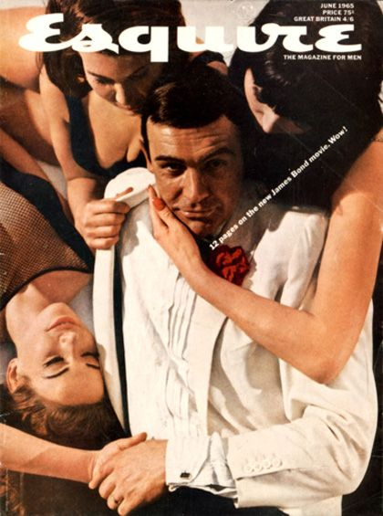 Sean Connery on Esquire with a few friends. This style of cover is still very popular. (See Pattinson, R.)