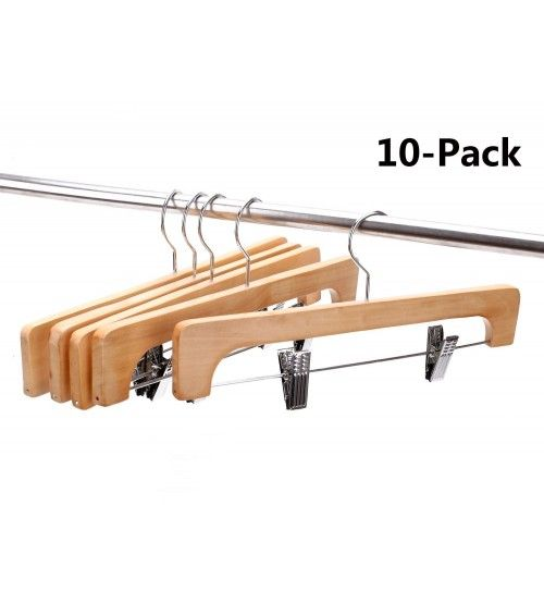 js hanger deluxe wooden pants hangers with 2 adjustable chrome clips wooden collection clothing hangers