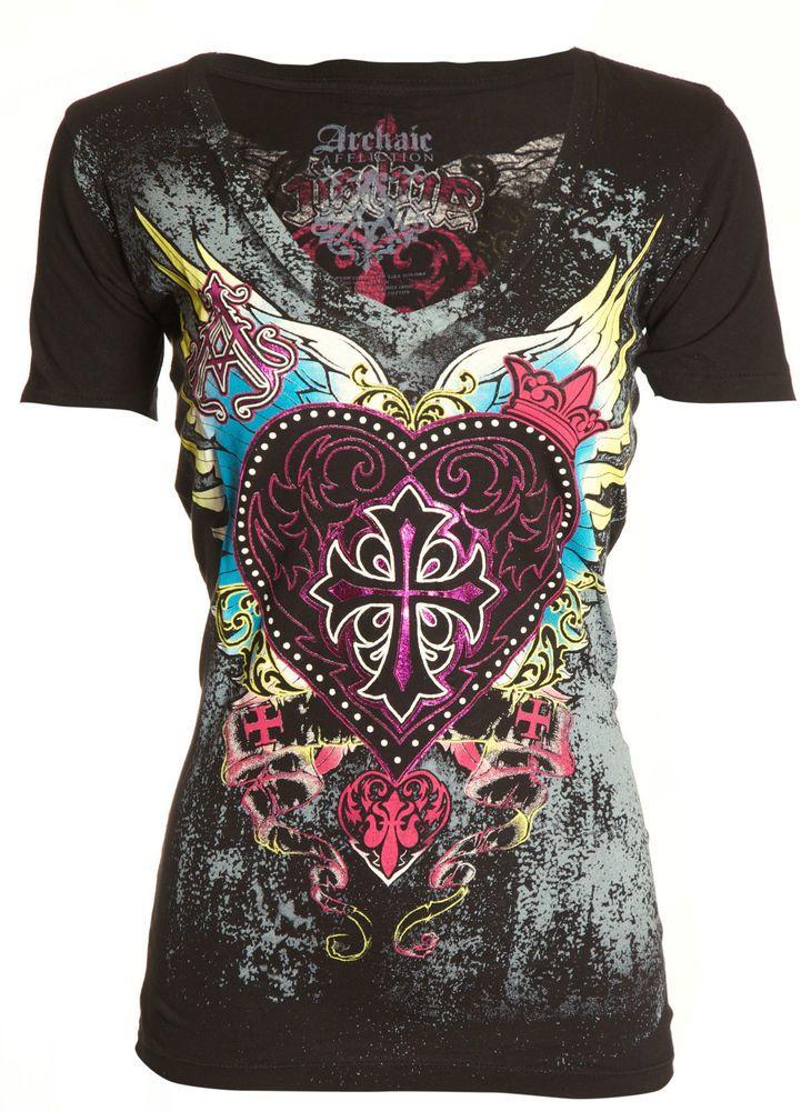 Archaic AFFLICTION Women T-Shirt DARLING Heart Wings Tattoo Biker UFC Sinful $40   Clothing, Shoes & Accessories, Women's Clothing, T-Shirts   eBay!