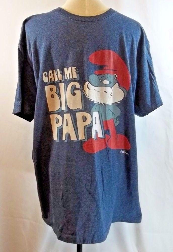 Call Me Big Papa Smurf T Shirt Heathered Blue XL Tshirt #Smurfs #GraphicTee