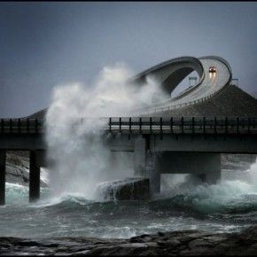 The Atlantic Road is a 8-kilometre long stretch of road between the towns of Kristiansund and Molde, the two main population centres in the county of Møre og Romsdal in Fjord, Norway.