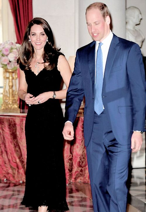 Prince William, Duke of Cambridge and Catherine, Duchess of Cambridge attend a reception at the British Embassy during day one of their visit in Paris, France.