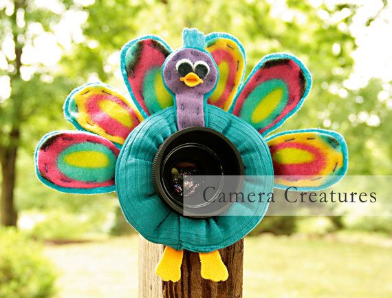 Camera Creatures Colorful Peacock with Squeaker