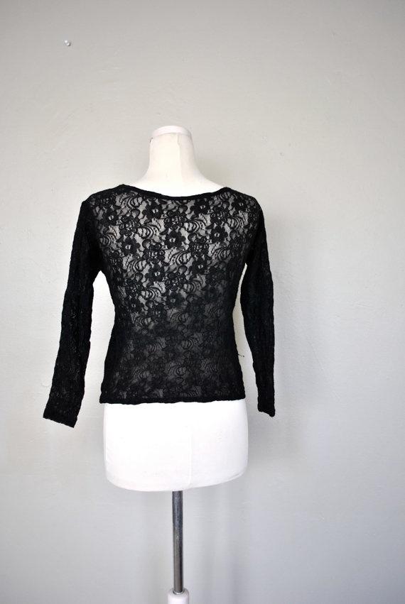 1980s Black Lace Shirt / Black Lace Blouse / by WayfaringMagnolia, $24.00