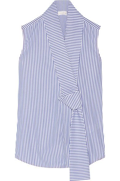 White and blue cotton-poplin Slips on 100% cotton Dry clean