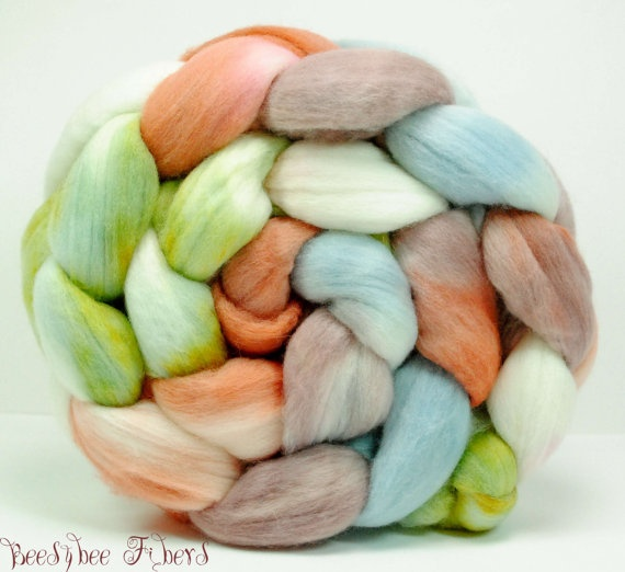 Hand Painted Wool Roving Merino Combed Top Spinning or by beesybee