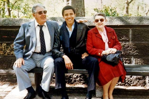 This undated photo shows Barack Obama with his grandparents Stanley Armour Dunham and Madelyn Lee Payne. (Obama family/AP)--    He's such a G