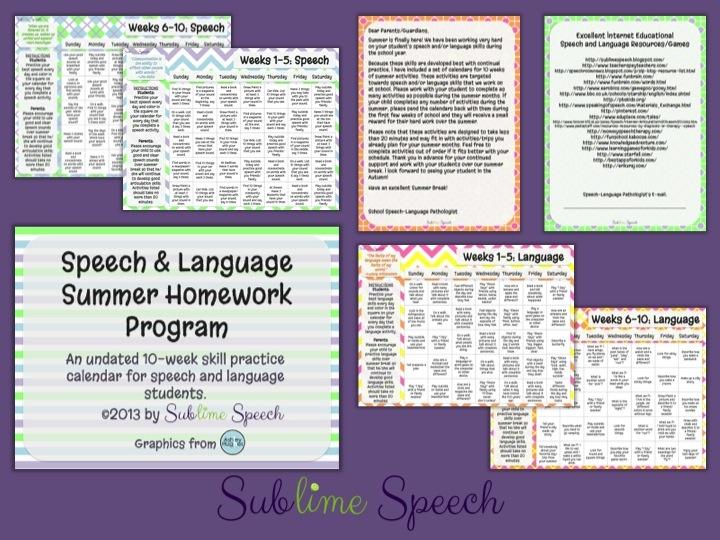 Speech & Language Summer Homework Program