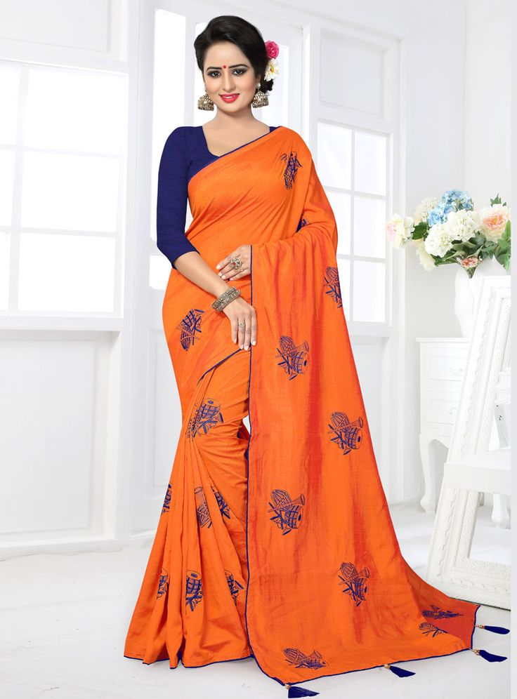 Orange Silk Saree With Blouse 122880
