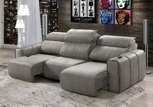 sofa reclinavel 3 lugares para sala de tv