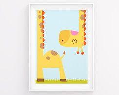 Poster decoração bebê girafinha