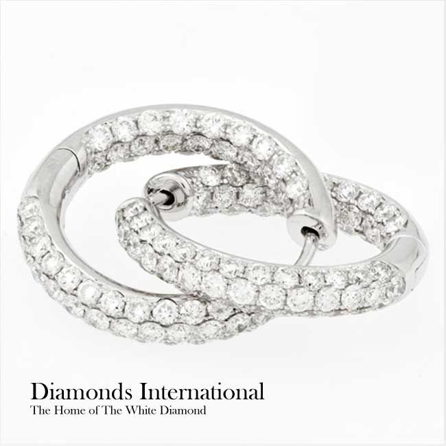 Diamonds International 18ct white gold Diamond set hoop earrings 136 x Round Brilliant Cut Diamonds = 3.89ct Pave set inside and out. Product reference G6812. #Diamondsinternational #white #gold #diamond #hoop #earrings
