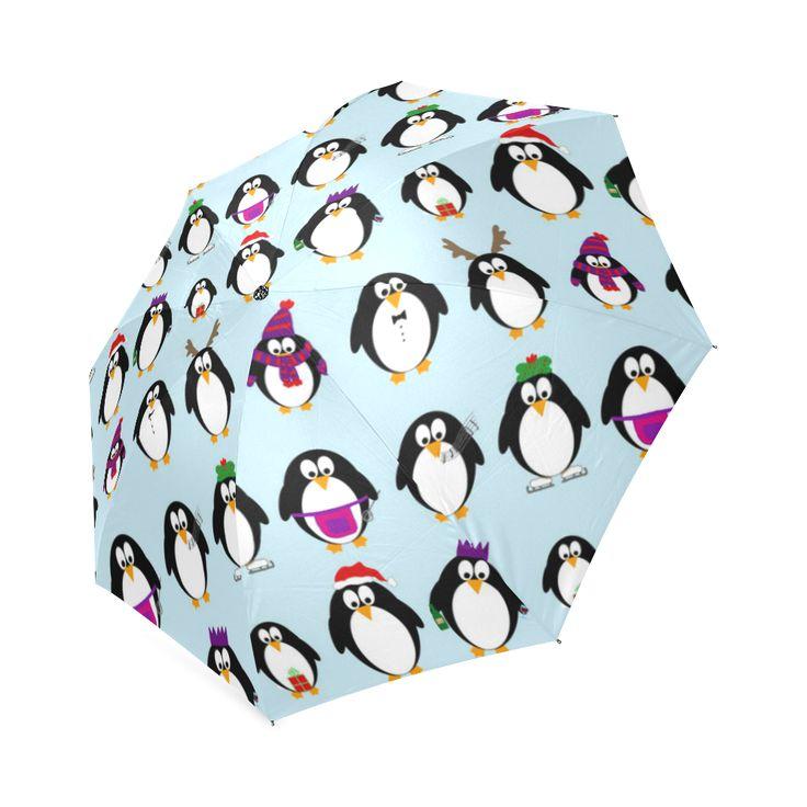 Christmas Party Penguins Foldable Umbrella