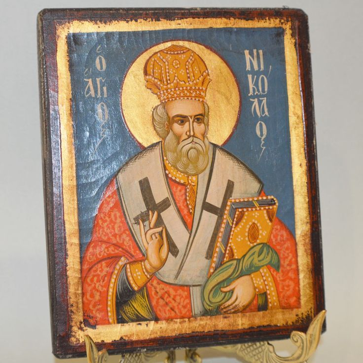 Orthodox Icon Handpainted Greek Byzantine Saint Nikolas Святой Николай