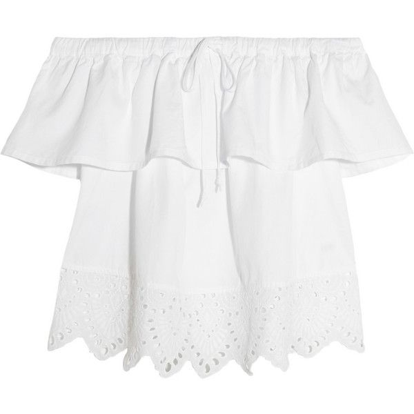 Madewell Off-the-shoulder broderie anglaise cotton-blend top (£81) ❤ liked on Polyvore featuring tops, blouses, shirts, white, white off the shoulder blouse, white shirt blouse, off shoulder tops, white off shoulder top and off the shoulder tops
