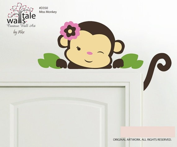 Walls Tale Wall Decals - Turkey - Miss monkey wall decal for nursery, kids room.Great for Jungle and Safari themes, $32.00 (http://www.wallstale.com/miss-monkey-wall-decal-for-nursery-kids-room-great-for-jungle-and-safari-themes/)