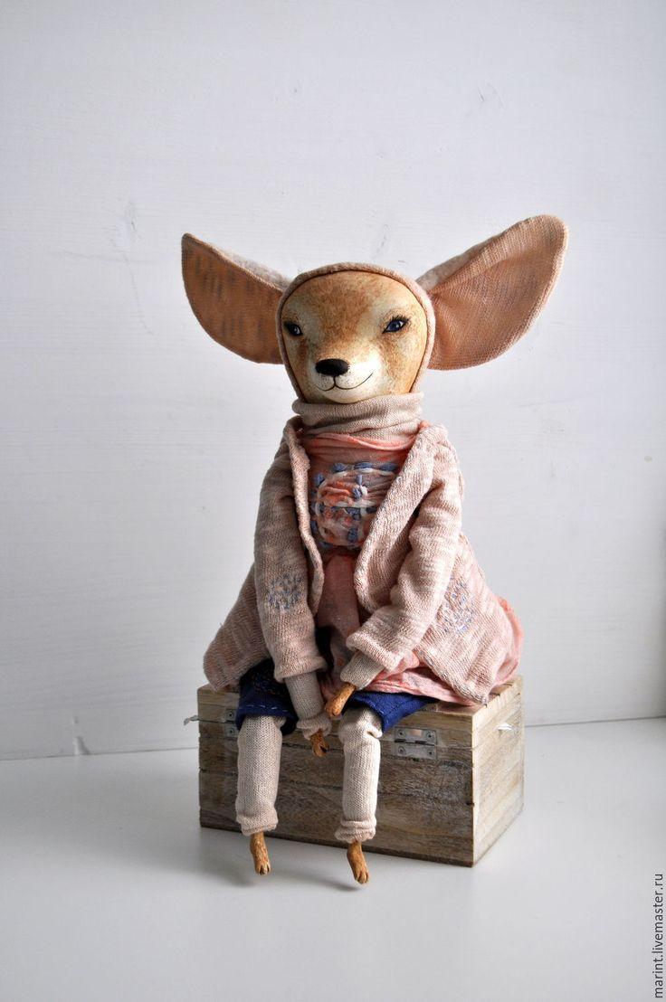 Купить Коллекционная кукла из паперклея Лисичка фенек Фифи - бежевый, лисичка, фенек, кукла