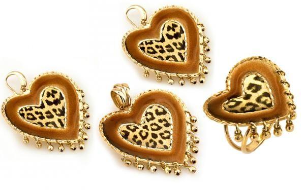 """Exkluzívna zlatá súprava náušnice prívesok a prsteň """"hearts of leopard"""""""