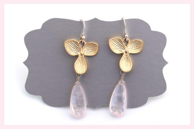 Floral and Rose Quartz Earrings by Janine Binneman Jewellery Design