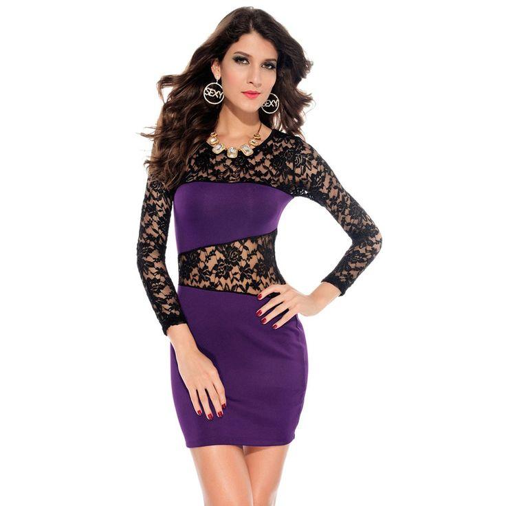 Платье облегающее кружево длинный рукав лето, сексуальный женщины бандажное цветочный пэчворк вечернее простирание Клубная одежда Vestidos ну вечеринкукупить в магазине Five Star Outlet наAliExpress