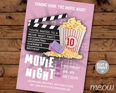 Girls Movie Night Birthday Party Invitation INSTANT by wowwowmeow