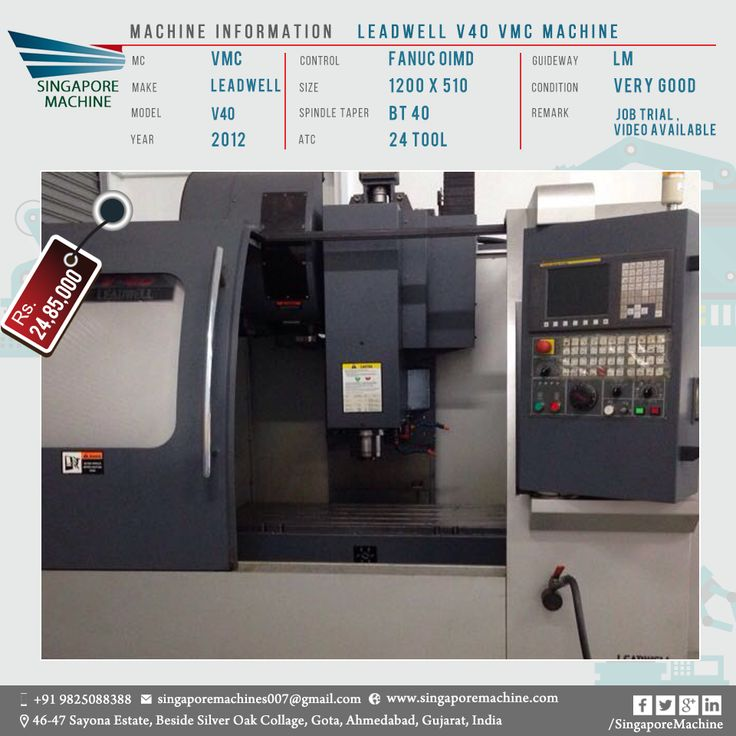Great Used Leadwell V40 VMC Machine Available In Ahmedabad Machine: Leadwell V40  VMC Machine MC: VMC Make: Leadwell Model: V40 Year: 2012 Control: Fanuc  OIMD ...