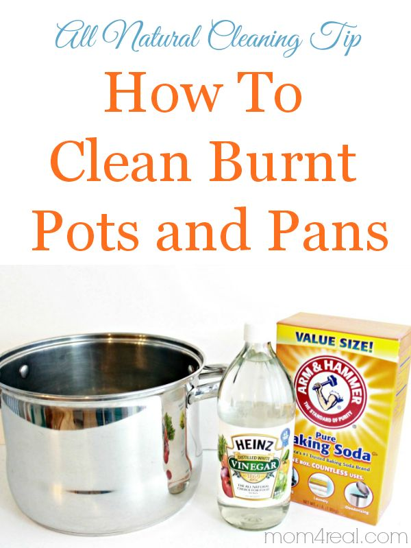 How to Clean Burn Pots and Pans with baking soda and vinegar.