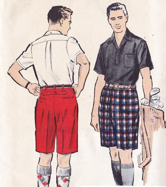 1950s Mens Bermuda Shorts Vintage Sewing Pattern Summer Fashion Golf Advance 8820