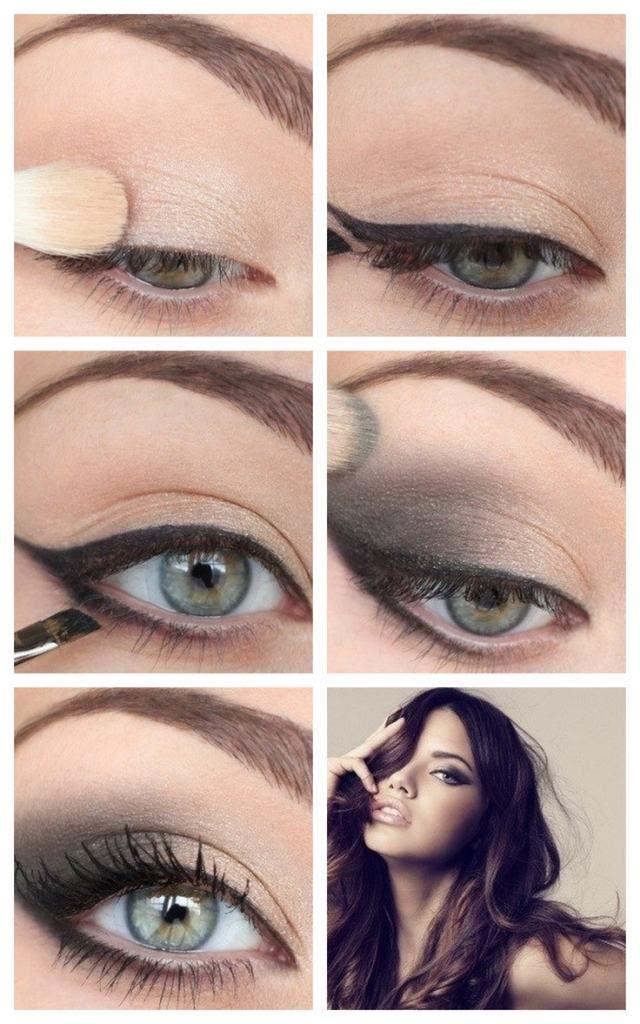 maquillage des yeux de soirée - fard à paupières en beige clair et gris foncé