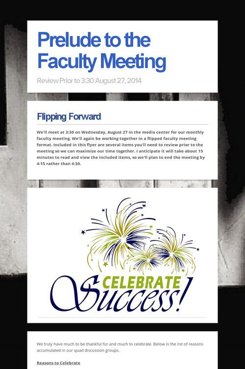 Prelude to the Faculty Meeting
