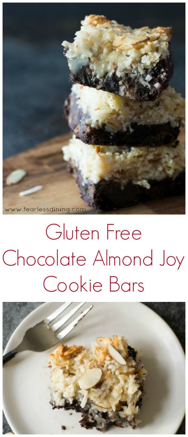 These easy Gluten Free Chocolate Almond Joy Cookie Bars are perfect for a crowd. Easy gluten free cookie bar recipe. How to make cookie bars. Gluten free coconut bars. Recipe at http://www.fearlessdining.com