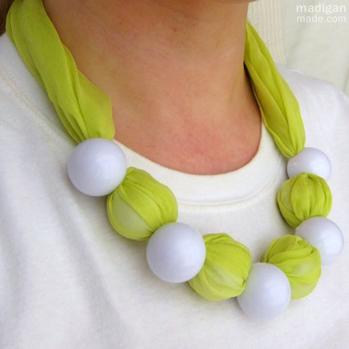 A No-sew Fabric and Chunky Bead Necklace ~ Madigan Made { simple DIY ideas } made with pony tail holder beads! who would have thought!!