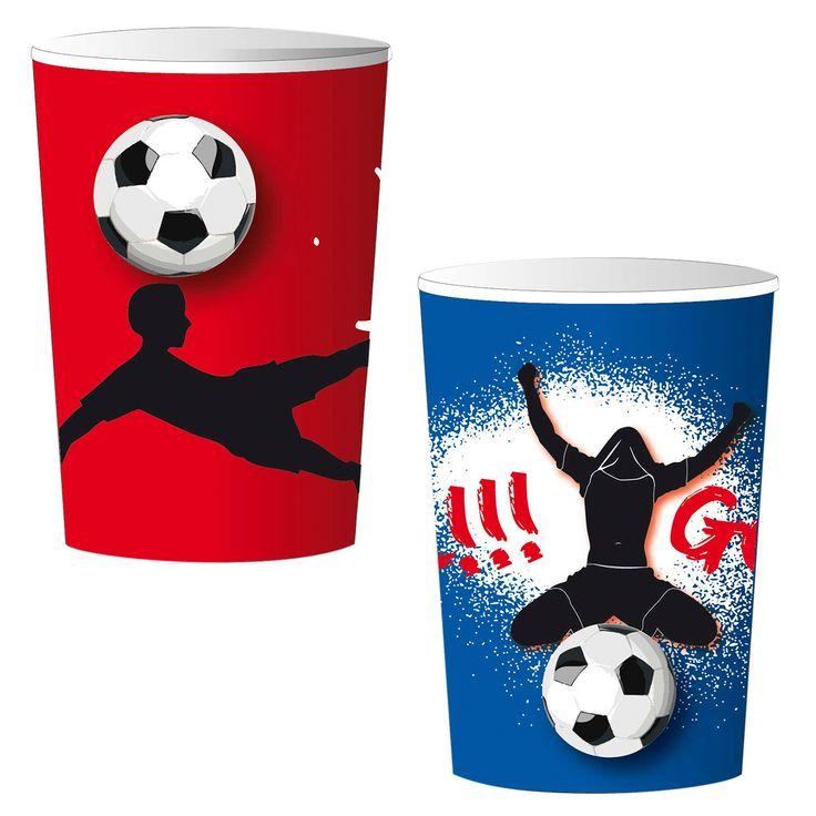 Set van 8 kartonnen bekers om jouw voetbal feestje helemaal compleet te maken. Afmeting: inhoud 25 cl - Bekers Goal, 8st.