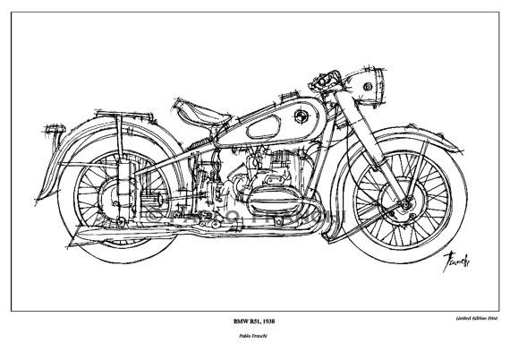 Motorcycle sketch  BMW R51 1938  Original Ink Drawing by drawspots, $38.00