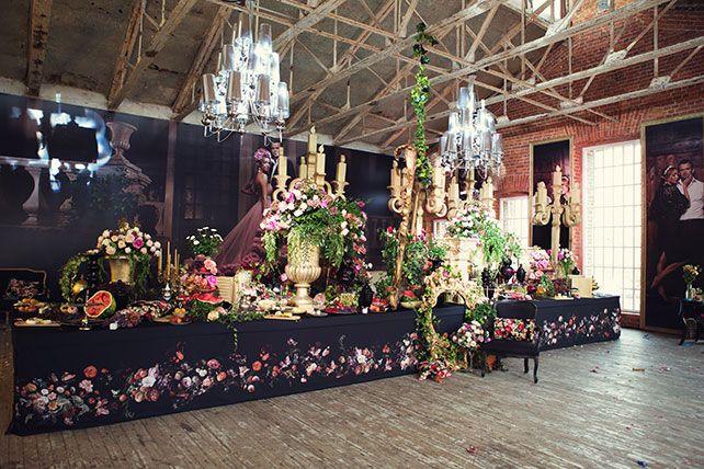 Ужин после венчания в стиле Dolce&Gabbana, декор свадьбы от Юлии Шакировой, декор зала