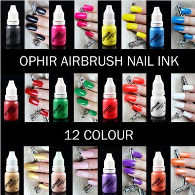 OPHIR TA100(1-12). 12 цветов акриловые водные чернила/Аэрограф краски для ногтей. Краска для аэрографии, лак для ногтей. 30 мл/ бутылка.