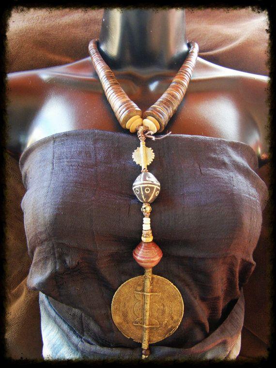 Ashanti Cast Bronze Amulet Necklace 'Akan' Long by TribalZen, $119.99