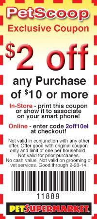 Pet SuperMarket: $2 off $10 Printable Coupon