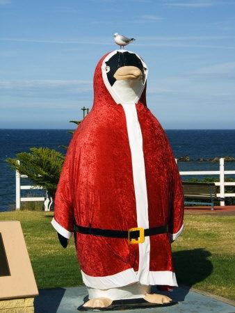 Tasmania, Penguin Town, Giant Penguin Dressed as Santa Claus, Australia