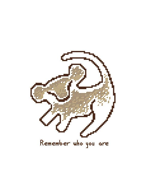 PDF cross stitch pattern modern cross stitch Simba cross