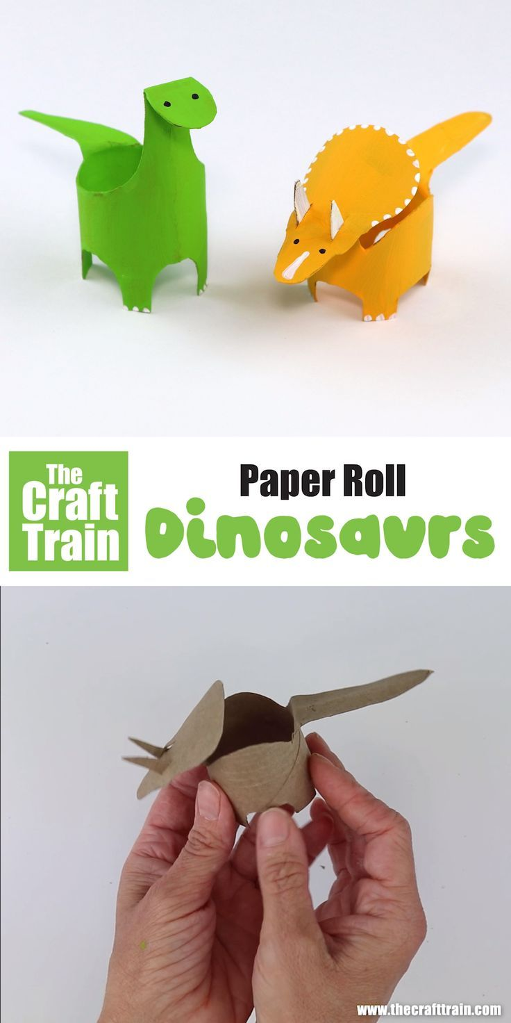 Make some paper roll dinosaurs with this printable template. There is a Diplodocus and a Triceratops to choose from – A fun and easy kids craft idea! #dinosaurcraft #kidscrafts #easycrafts #dinosaurs #paperroll #animalcrafts #cardboardtubes #recyclingcrafts
