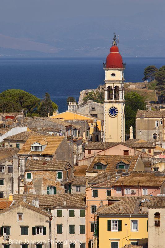 Saint Spyridon Church rises above Corfu Town (Kerkyra), on Island of Corfu Greece.