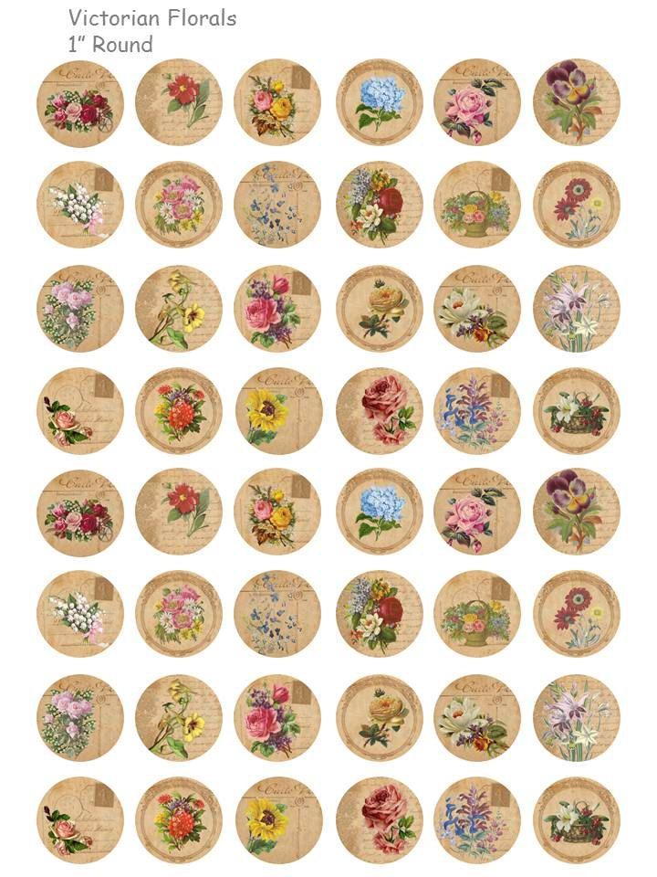 Viktorianischen Blumen – digitale Collage Blatt – 1 Zoll runden Kreise – INSTANT DOWNLOAD